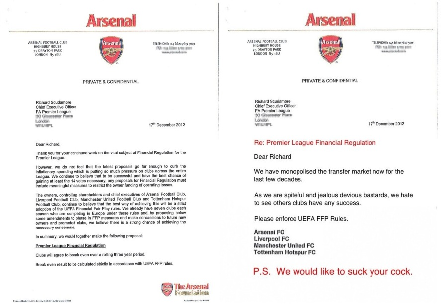 Arsenal FFP Letters