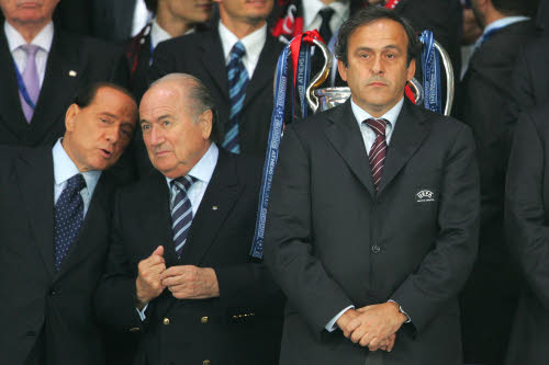 AC Milan Chairman Silvio Berlusconi, FIFA President Sepp Blatter, UEFA Presdient Michel Platini