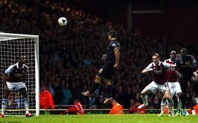 Aguero scores a rare header