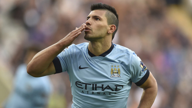 The feeling's mutual. Sergio Aguero shows his affection for the City faithful